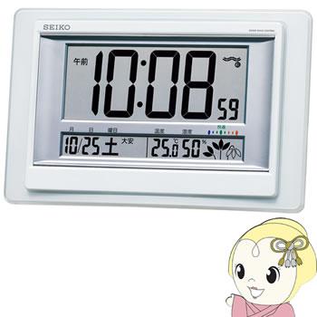 送料無料 北海道 爆売りセール開催中 沖縄 離島除く セイコークロック 掛置兼用時計 電波 デジタル 温度 湿度表示 SQ432W 快適度 白パール カレンダー 豊富な品 KK9N0D18P