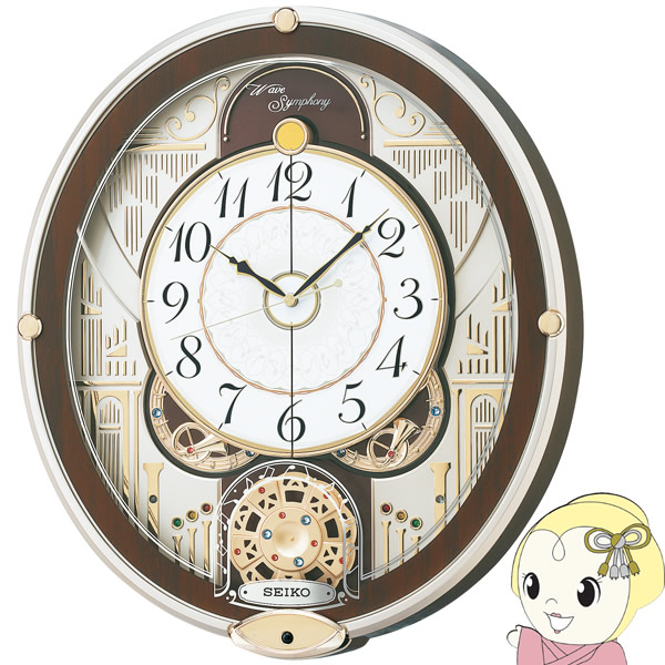 セイコー 掛け時計 電波 アナログ からくり 6曲 メロディ 回転飾り 薄金色 パール RE577B【KK9N0D18P】
