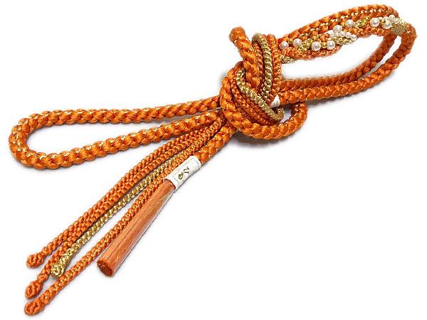 鮮やかな帯締めで一層お洒落に 帯締め w-NO 8 橙色×金 振袖 低価格 帯〆 正絹 オススメ パール調飾り付 手組み 結婚式 供え パール調飾り付き正絹手組み帯締めメール便可 卒業式 成人式