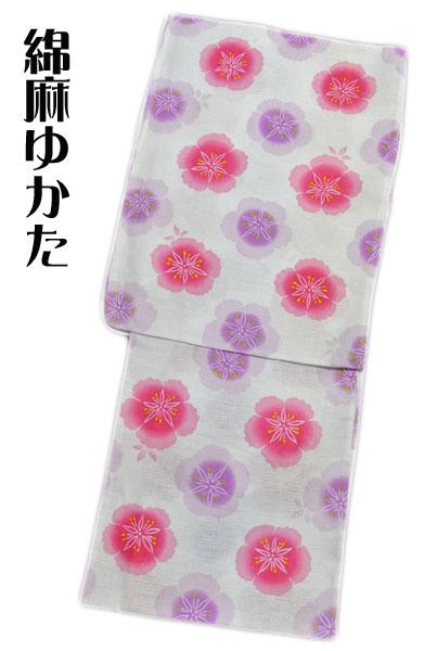 【女性用】綿麻 浴衣 夏物 ゆかた 77 白系 花 お仕立て上がり プレタ浴衣 ゆかた フリーサイズ 新入荷 オススメ