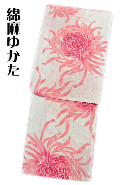 【女性用】綿麻 浴衣 夏物 ゆかた 76 白系 菊 お仕立て上がり プレタ浴衣 ゆかた フリーサイズ 新入荷 オススメ