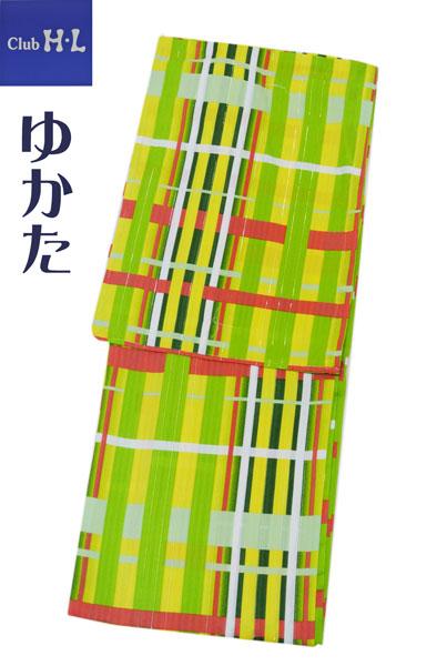 浴衣 アッシュエル ポリエステル 【W-7】HL ゆかた プレタ 黄色 緑女性用 レディース 新入荷