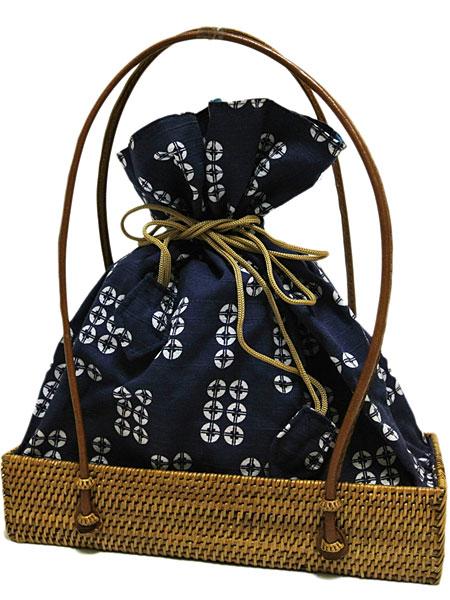 送料無料【京都老舗 岡重】アタバッグ 16オリジナル 巾着バッグ 藍色系 角底 籠バッグ 籠巾着 浴衣 バッグ