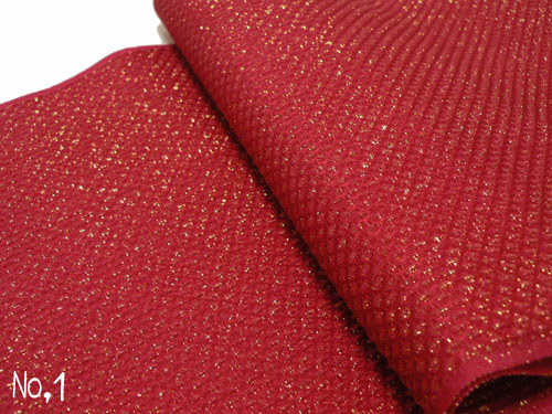 【振袖用】正絹 鹿の子織り金ラメ入り 帯揚げ No.1 赤色系【メール便可】