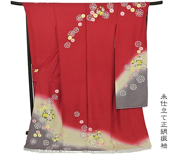 振袖【送料無料】未仕立て正絹振袖成人式・振袖 赤色/桜・花柄