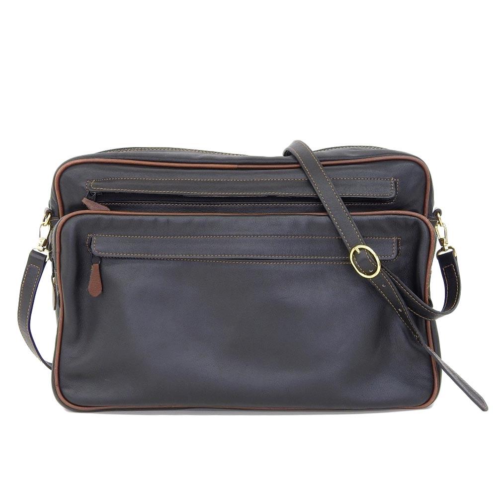 新着【中古】バリー BALLY 斜めがけ レザー ショルダーバッグ ビジネスバッグ A4サイズ可 黒 茶パイピング