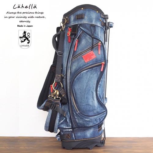 ラヘラゴルフ lahella golf ヴィンテージデニムスタンドキャディバッグ 8.5インチ カラー:ネイビー(レザーカラー:レッド) L511