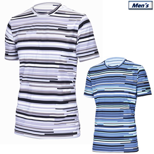 SALE 接触涼感 透け防止プリント アプルラインド applerind ボーダー柄クルーネックTシャツ メンズアンダーウエア 全2色 新作アイテム毎日更新 JS1153 人気 Crew-Neck 2019春夏 M-XL T-Shirt