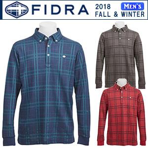 フィドラ FIDRA チェックパターン柄長袖ポロシャツ メンズ 全3色 M-XL fi38tg06