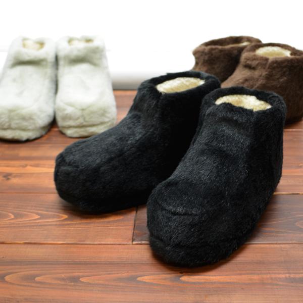 【メンズ】フェイクファー ムートン ルームブーツ メンズ ボア ブーツ ルームシューズ 大きい サイズ あったか ふわふわ もこもこ シープ調ボア 靴 寒さ対策 冷え対策 足首 ブラウン グレー ブラック