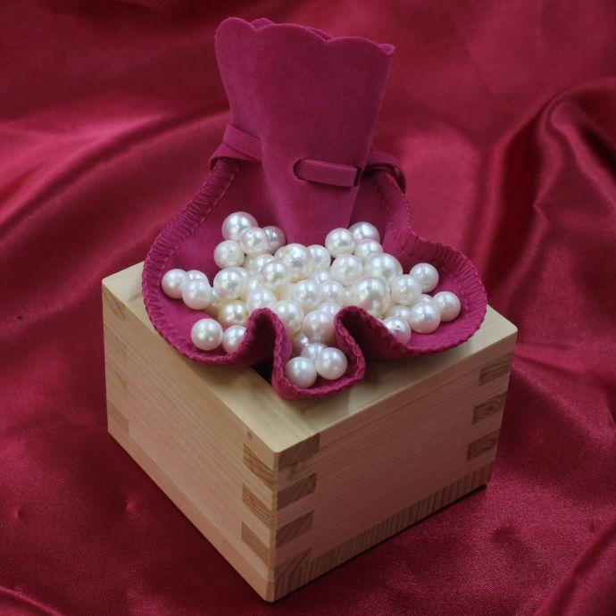 ポイント10倍 全品送料無料 バラ真珠 升 枡 ます 木曽ヒノキ 3勺 パール 真珠 あこや本真珠 100個 アマビエ キャッシュレス ポイント 還元