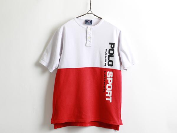 90's■ラルフローレンPOLOSPORTポロスポーツバイカラー切替半袖ヘンリーネックTシャツ(ボーイズ L)メンズS程