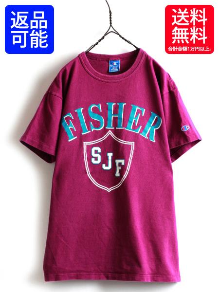 レアカラー 90s USA製■ CHAMPION チャンピオン 2段 ビッグ プリント 半袖Tシャツ 紫 ( 男性 メンズ L )オールド 90年代 古着 アメリカ製