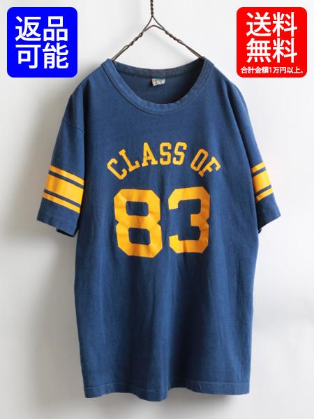 70s ★ Champion チャンピオン カレッジ ナンバリング プリント 半袖 フットボール Tシャツ (メンズ 男性 L ) 70年代 ビンテージ バータグ
