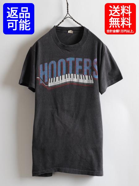 80s USA製 ★ HOOTERS フーターズ 両面 鍵盤 プリント 半袖 Tシャツ ( メンズ 男性 L) 80年代 アメリカ製 バンドT ツアーT ビンテージ 古着