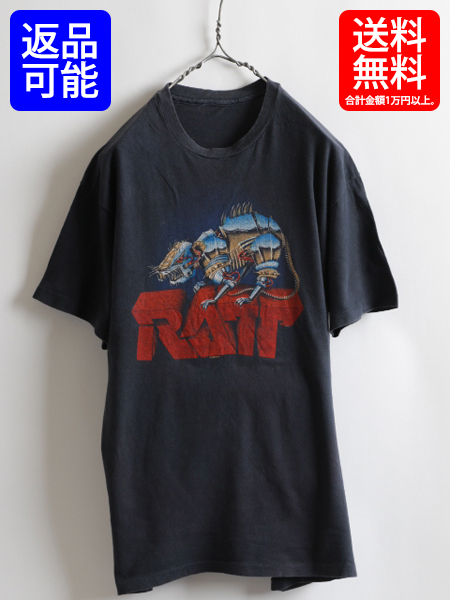 80s 人気の黒 ★ RATT ラット 両面 ツアー プリント 半袖 Tシャツ ( メンズ 男性 M程 ) 80年代 ビンテージ バンドT ツアーT 古着
