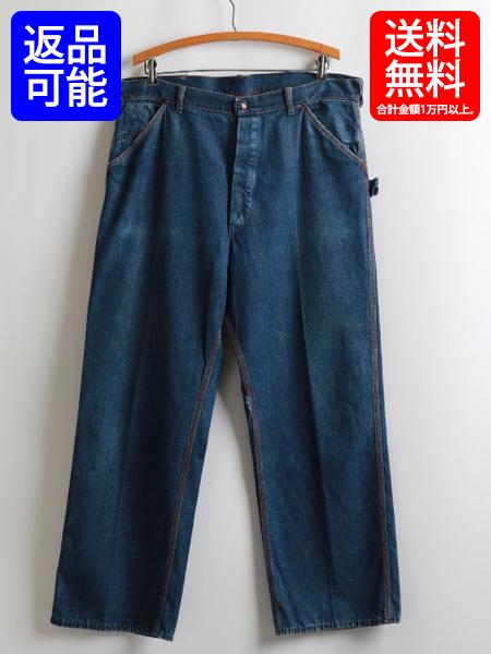 40s ★ バックルバック 付 コットン デニム インディゴ ペインター パンツ ( メンズ 男性 W36×L28程 ) 40年代 ビンテージ 古着 オリジナル