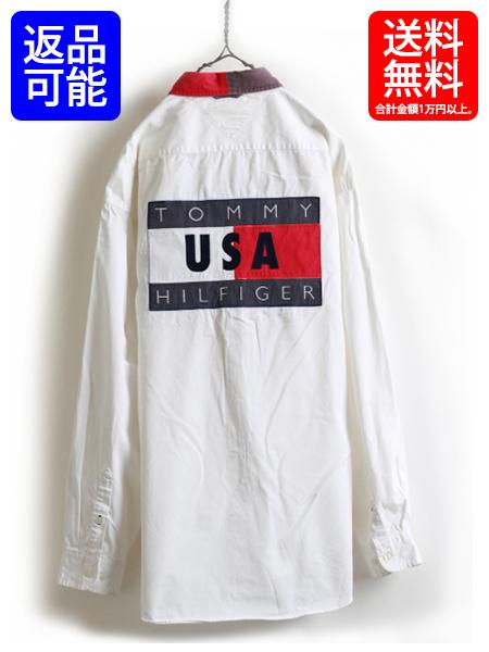 90s■TOMMY HILFIGERトミーヒルフィガー ビッグ フラッグ バックパネル 付 ボタンダウン 長袖 シャツ(メンズ 男性 大きい XL )90年代 古着