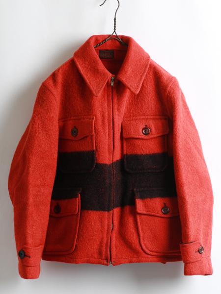 30's ★ CARSS MACKINAW カーズマッキーノ バイカラー フルジップ ウール コート ジャケット ( メンズ 男性 M程 ) 30年代 ビンテージ 古着