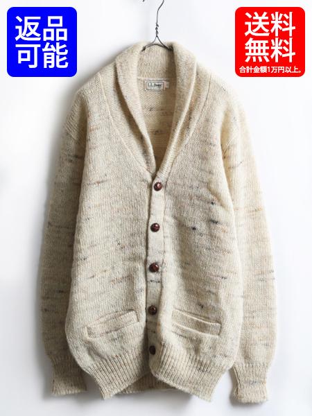 70's 80's 旧タグ■ L.L.BEAN LLビーン ショールカラー ネップ ウール ニット カーディガン (メンズ 男性 L)ビンテージ セーター 古着 USED