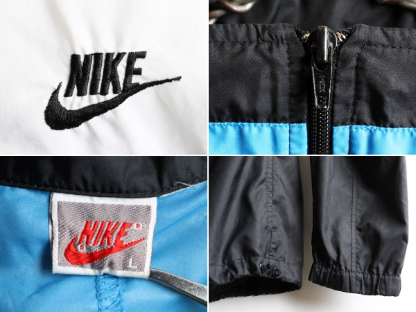 90's initial silver tag ■ NIKE Nike zip high neck three colors reshuffling スウッシュ embroidery pullover nylon jacket (male men's L) old clothes | Used