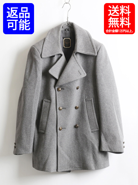 3a0e074231 ★ Christian Dior Christian Dior melton wool P coat (men's male 42R)  Christian Dior outer old clothes gray   Used ash coat wool coat plain  fabric ...