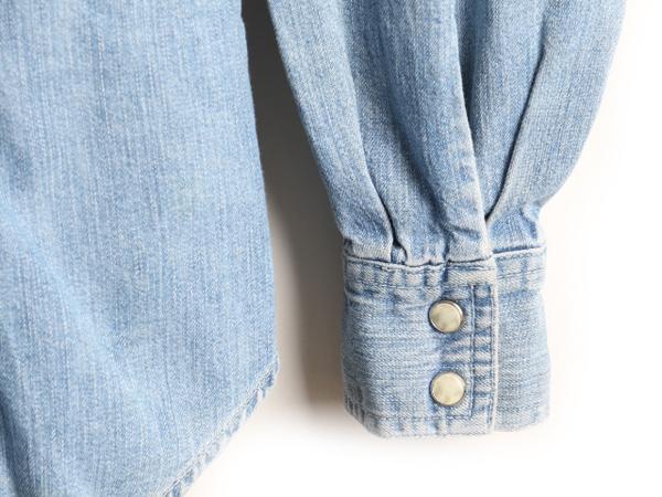 90's 旧タグ オールドGAP ギャップ ポケット付き 長袖 デニム ウエスタン シャツ女性 レディース M古着 90年代 長袖シャツ 青USA古着デニムシャツ ウエスタンシャツ オールドギャップ ワークシャツ コットンシャツ ブルー トップス オールドGAPlcTFK1J3