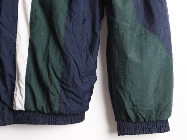 90'sリーボック Reebok ビッグ ロゴ 刺繍 トリコカラー 切替 ライナー付き フルジップ ナイロン ジャケットsdQxtrhCB