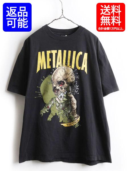 90's ★ Metallica メタリカ Pushead パスヘッド Fixxxer フィクサー 両面 プリント 半袖 Tシャツ ( メンズ 男性 XL ) 古着 ロックT バンT  【USA古着】 中古 ロック バンド バンドTシャツ ロックTシャツ プリントTシャツ 半袖Tシャツ 90年代 メタル ヘビメタ ブラック