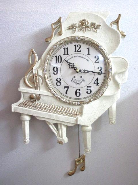 ウォールクロック 保障 送料無料 ピアノ グランドピアノ 壁掛け時計 ホワイトピアノ振り子時計 音楽教室 ホワイト 代引き不可 wa275