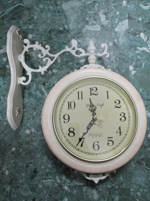 クラシカル両面時計 wa112w【クラシカル雑貨】【おしゃれ】【壁掛け時計】【ホワイト家具】