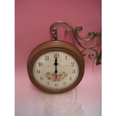 レトロローズハンギング時計wa164br【両面時計】【ブラウン】【ウォールクロック】【送料無料】【ブラウン】