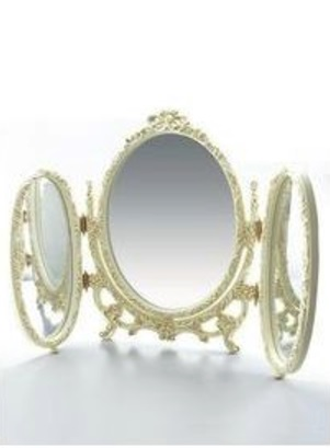 卓上ミラー 化粧鏡 卓上鏡 スタンドミラー ホワイト 白 オーバル 三面鏡 姫系 アンティーク ロマンチックアンティーク調3WAYリボンミラーmr17