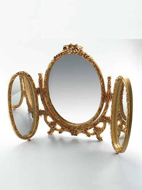 卓上ミラー 化粧鏡 卓上鏡 スタンドミラー ゴールド 金 オーバル 三面鏡 姫系 アンティーク ロマンチックアンティーク調3WAYリボンミラーmr12