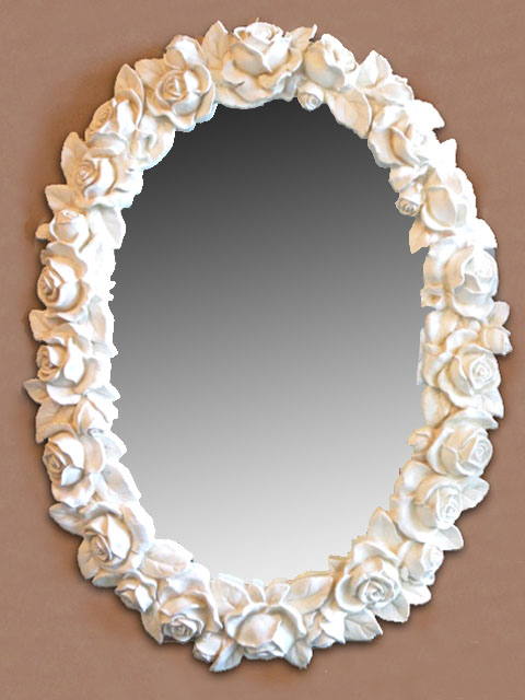 ホワイトローズオーバルミラーmr156【大人カワイイ】【新生活】【ラグジュアリー】