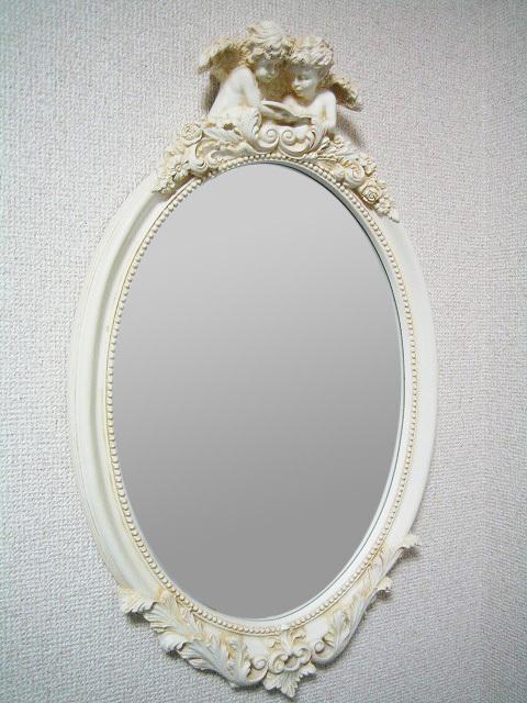 オーバルエンジェルミラーmr47【天使雑貨】【かわいい】【壁掛けミラー】【ホワイト】【ウォールミラー】