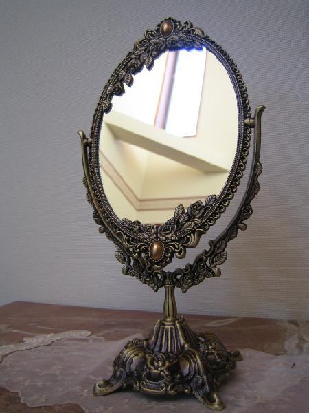 卓上ミラー 化粧鏡 卓上鏡 スタンドミラー ゴールド 金 オーバル 姫系 アンティーク ロマンチックオーバル2ウェイスタンドミラーL mr97