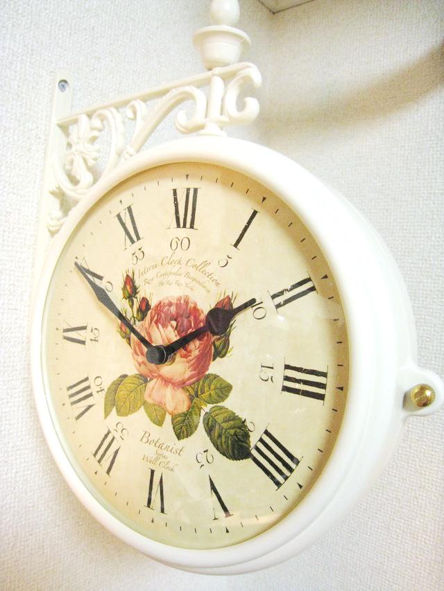 両面時計 アンティーク 回転 アイアン 壁掛け時計 フラワークロック ブラケット時計 ウォールクロック ホワイト ローズローズ回転時計wa119【大人カワイイ】【新生活】【ラグジュアリー】