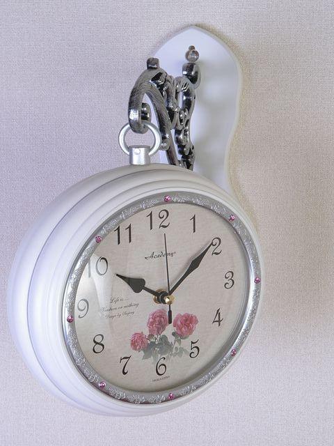 両面時計 アンティーク 回転 アイアン 壁掛け時計 フラワークロック ブラケット時計 ウォールクロック ホワイト 白 ローズプリンセス回転時計wa135送料無料