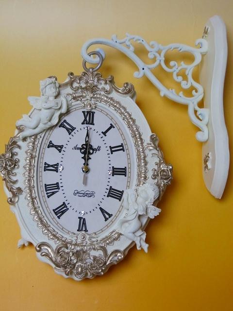 両面時計 アンティーク 回転 アイアン 壁掛け時計 ブラケット時計 ウォールクロック ホワイト 天使 エンジェルガーデン両面時計wa157【送料無料】【新生活】【ラグジュアリー】