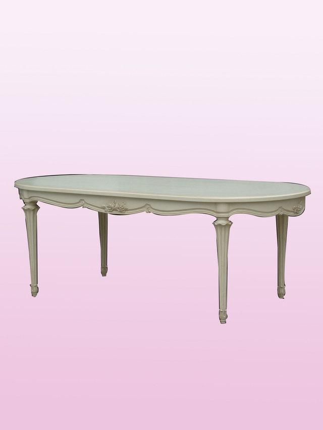 ホワイト家具 ロマンチック 姫系 白い 白家具 テーブル ダイニング リビングオーバルダイニングテーブルwh216【大人カワイイ】【新生活】