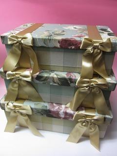 ジェニファーテイラーローズボックス3個セットbx191【収納ボックス】【クラシカル】【リボン】【バラ・薔薇】【エレガント】