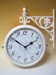 両面時計 アンティーク 回転 壁掛け時計 フラワークロック ブラケット時計 ウォールクロック ホワイト 白 薔薇雑貨 ローズフラワー両面時計wa195w 【大人カワイイ】【送料無料】【ラグジュアリー】