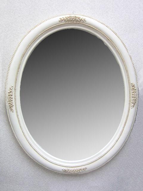 リボンオーバルミラーmr134w【白・ホワイト】【ウォールミラー】【壁掛けミラー】【シンプル】【鏡】【アンティーク風】