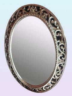 壁掛けミラー 鏡 アンティーク ウォールミラー アンティーク ロマンチック 姫系 シャビー オーバル シルバーアカンサスフレームミラーmr117s【新生活】【ラグジュアリー】