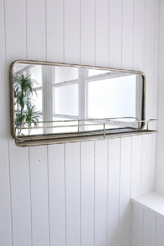 鏡 ミラー 壁掛け アンティーク ウォールミラー ロマンチック 姫系 シャビー ホワイトスティール スクエアアンティークウォールミラーmr537