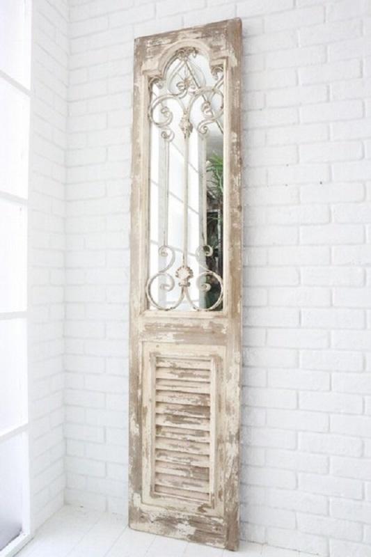 鏡 ミラー 壁掛け アンティーク ウォールミラー ロマンチック 姫系 シャビー ホワイト 白 スクエアアンティークミラードアmr546