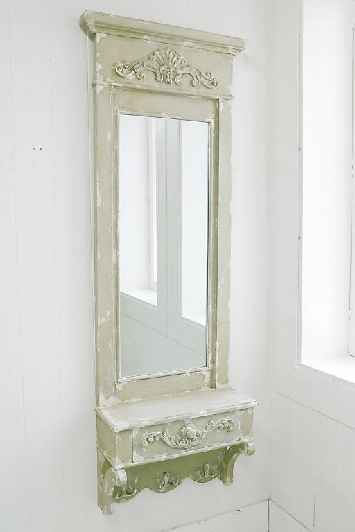 卓上ミラー 化粧鏡 卓上鏡 スタンドミラー ホワイト オーバル 姫系 アンティーク ロマンチックドロワーウォールミラーmr685