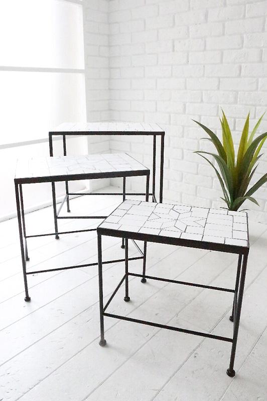 クラシック アンティーク ダイニングカフェ ガーデニング テーブルクラシックタイルローテーブル3個セットtb39