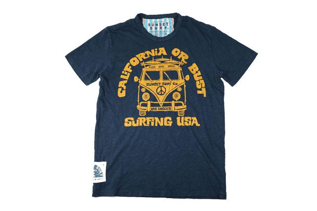 SUNSET SURF サンセットサーフ メンズ 半袖 Tシャツ「カリオアバス」デッドネイビー BY ジョンソンモータース あす楽 アメカジ バイカー